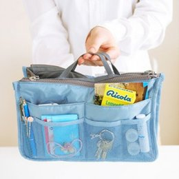 Wholesale Rectangle Function - Christmas Discount 14 Color 20pcs Bag in Bag Dual Insert Multi-function Handbag Makeup Bag Pocket Bag Organizer Washing Bag Cosmetic Handbag