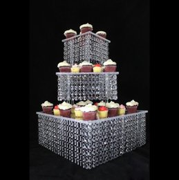 Wholesale Square Acrylic Cake Stands - 5sets lot 3 Tier Acrylic Cupcake stand Crystal Cake Stand Square Christmas Wedding Anniversary Birthday Party Display Tools