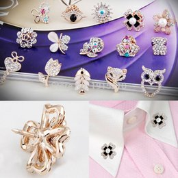 Wholesale Vintage Bride Pin - Wholesale- 15 Styles Vintage Mini Crystal Rhinestone Bride Brooches Pins For Women Gold Wedding Brooch Small Collar clip Thorn pin