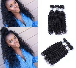 Wholesale loose deep wave remy - Unprocessed Brazilian Human Remy Virgin Hair Deep Wave Hair Weaves Hair Extensions Natural Color 100g bundle Double Wefts 3Bundles lot