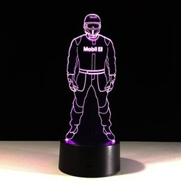 Wholesale Police Cards - Police 3D Illusion Night Lamp 3D Optical Lamp Night Light AA Battery DC 5V Wholesale Dropship Free Shipping