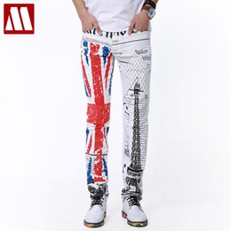 Wholesale Free Boot Pattern - Wholesale-Top Punk Style New Yuppie Jeans for Male leisure men brand designer retro print jeans Men White Trousers Plus size man
