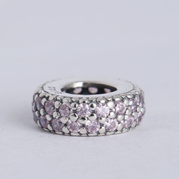 Wholesale Sterling Spacer Beads - Wholesale- Fits Charms Bracelet 925 Sterling Silver Spacer Beads Pink Pave Inspiration Charm with Cubic Zirconia Women DIY Jewelry