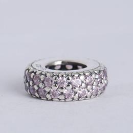 Al por mayor- Se adapta a los encantos de la pulsera de plata esterlina 925 granos espaciadores rosa pavimenta el encanto de la inspiración con mujeres cúbicos Zirconia DIY joyería desde fabricantes