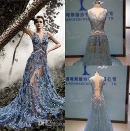 Sexy Paolo Sebastian Evening Dresses Blue Appliques Sequins Real Images Sheer Tulle Sweep Train Celebrity Dress Prom Gowns ? partir de fabricateur