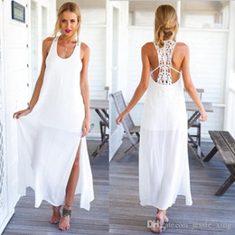 Wholesale Women S Thigh Highs - Free Shipping Womens 2017 Summer Sexy White Slim Plus Size Maxi Dress Thigh High Split Sleeveless Party Long Dresses For Wholesale