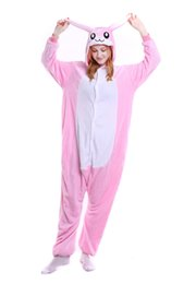 Wholesale Pajamas For Women Cheap - White Pink Rabbit Onesie Pajamas Adult Teen Cute Cosplay Costumes Footed Pyjamas Onepiece For Women Cheap Fleece Pajamas For Juniors