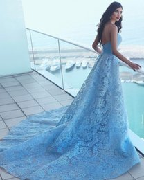 Wholesale Zuhair Murad Sheath Sweetheart - Zuhair Murad Sky Blue Lace Women Evening Dresses 2017 Ball Gown Sweetheart Backless with Train Sexy Celebrity Gowns Long Prom Pageant Dress