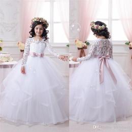 Wholesale Long Dresses For Graduation Cheap - 2017 Cheap White Flower Girl Dresses for Weddings Lace Long Sleeve Girls Pageant Dress First Communion Dress Little Girls Kids Ball Gown