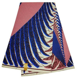 Wholesale wax clothes - 6 Yards lot Nice looking blue and peach printed pattern african wax fabric hollandais batik wax for clothes LB14-2