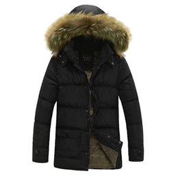 Wholesale Thick Warm Coats Men - Winter Jacket Men Thick Warm Coats Mens Casual Fur Collar Down Coat New Winter Windproof Hooded Outwear Parkas