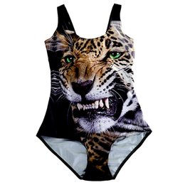 Wholesale Girls Leopard Print Bathing Suits - 2017 NEW 1171 Sexy Girl Summer Animal Cheetah Leopard 3D Prints One Piece Suit Sleeveless Swimsuit Swimwear Women Bathing Suit