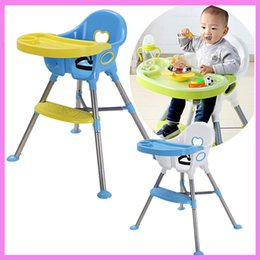 Wholesale Plastic Folding Chairs Tables - Children Highchair Baby Safety Dinning Chair Table Adjustable Kids Folding Safety Seat Cup Holder Eatting Plate Dinner Chair