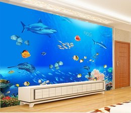 Wholesale Underwater Wall Decorations - Luxury European Modern fashion decor home decoration for bedroom Underwater World Tropical Fish TV Wall
