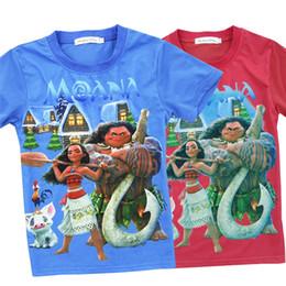 Wholesale Clothing For School - Kids Moana printed T shirt boys girls short sleeve cartoon T shirt moana and maui printed clothing for 3-8T back to school gifts