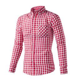 Wholesale Latest Shirts Designs For Men - Wholesale- stylish long sleeve TC plaid dress shirts for men latest shirt designs contrast color collar and cuff high-end dress man shirt