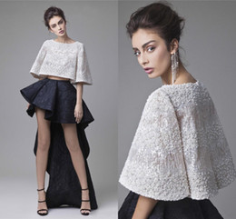 Wholesale Two Split Skirts - Fashion Krikor Jabotian Lace Prom Dresses Black White Two Piece Evening Party Dresses Short Mini Asymmetrical Skirt High Low Cocktail Dress