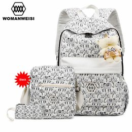 Wholesale Flower Laptop Bags - Wholesale- Beautiful Women Backpack Crossbody Bag Set 2017 Fashion Flower Printing Female Bagpack For Teen Girls Laptop Backpacks Schoolbag