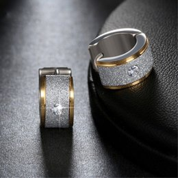 Wholesale Pave Diamond Hoop Earrings - New Silver Color&Gold-Color Stainless Steel Earrings Paved Shiny Crystal Small Circle Punk Hoop Earrings for Women