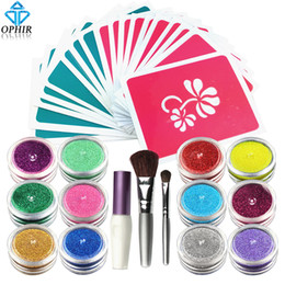 Wholesale Acrylic Paint Powders - Wholesale- OPHIR 12 Color Temporary Tattoos Glitter Powder with Stencils & Glue for Body Tattoo Nail Art Acrylic Glitter Body Art Paint