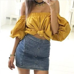 Wholesale Puff Shoulder Tops - Women's Puff Sleeve Slash Neck T Shirt Off Shoulder Elastic Neckline Short Sleeve Top Tees Bubble Sleeve Causal Style YG 6198