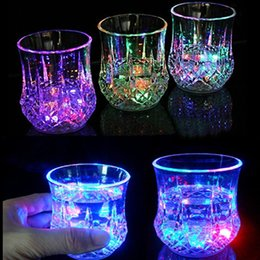 Wholesale Wedding Forms - Colorful Led Cup Wine Flashing Shot Glass Led Plastic Luminous Mysteries Cup Birthday Party Bar Wedding Glassware Flash