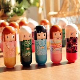 Wholesale Kimono Doll - Wholesale-Cute Kimono Doll Natural Harmless Plant Moisturizing Healthy Lipstick Lip Pen Pattern Random