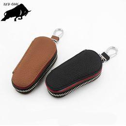 Wholesale Synthetic Leather Case - ZYD-COOL Genuine Leather Car Key Wallets Men Housekeeper Keys Organizer Women Key Chain Covers Zipper Key Case Bag Pouch Purse