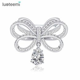 Wholesale Vintage Animal Pins - Vintage CZ Bowknot Brooches for Women Bijoux Jewelry Fashion Bridal Dress Pins Wedding Party Accesories New Arrival LUOTEEMI