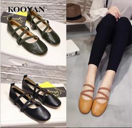 Wholesale Japanese Fashion Lace - Koovan Fashion Women Shoe 2017 Summer Hot Sale New Soft Bottom Genuine Leather Japanese Ballet Shoes Round Toes Cross Straps Flat Platform