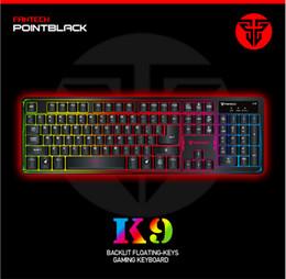 Wholesale Gaming Cafe - backlit floating-keys pro gaming keyboard K9 104 keys Mechanical feel Internet cafes USB keyboard Ergonomics Colorful backlight