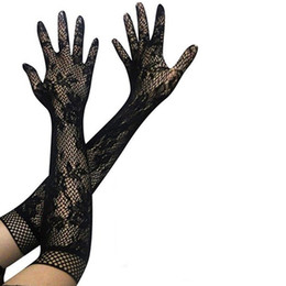 Wholesale Women Sexy Glove - Sexy long gloves women black red white floral lace gloves mittens lace gloves UV blocking Summer party Sunscreen Mittens