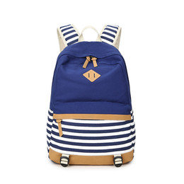 Wholesale Gilrs Bags - Wholesale- Westcreek Preppy Bagpack Female Canvas Striped Printing Backpack Women Computer Back Pack Lady School Bags for Teenagers Gilrs