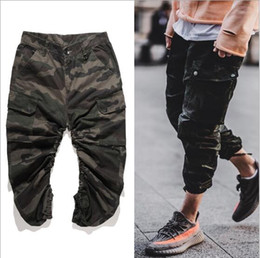 Wholesale Mens Casual Camo Pants - Causal Camouflage Harem Jogger Pants for Men Kanye West Rubber String Arc Camo Design Mens Military Army Joggers Hip Hop Streetwear P05
