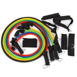 exercícios de fitness bandas Desconto New 11 pçs / set bandas de resistência de látex treino exercício pilates yoga crossfit tubos de fitness puxar corda