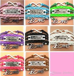 Wholesale Vintage Wrist Bands - Infinity Love Sister Charm Bracelet Leather Band Wrist Bangle Vintage Jewelry Gift Adjustable Bracelet for women