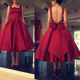 Wholesale Dress Paty - Robe De Soiree 2017 Hot Red Prom Dresses Tea Length Satin Square Neck Sexy Open Back Ruch Formal Evening Paty Dresses With Bow