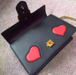 Wholesale Heart Shape Shoulder Bags - Heart Shape Decorate Marmont Handbag, Famous Designer Brand Genuine Leather Shoulder Bag With Vintage Gold Hardware Top Quality Cowhide G338
