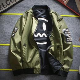 Wholesale green army jackets mens - Fashion hip hop jackets mens brand autumn thin MA1 bomber jacket for men long sleeve casual baseball men jacket free shipping