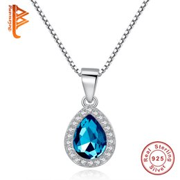 Wholesale Crystal Droplet Necklace - BELAWANG 925 Sterling Silver Tear Drop Shape Pendant Necklaces Jewelry Blue Water Droplets Crystal Rhinestones Women Necklace Silver Chain