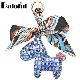 Wholesale Pendant Scarf Blue - beijia Horse Scarf Keychains Leather Keyrings Purse Bag Pendant Gift For Girls Womens Key Chain Rings Holder K344