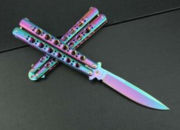 Wholesale Rainbow Butterflies - BM42 Butterfly rainbow handle Balisong Spring Latch tactical Outdoor Tactical gift knife knives new in original box BM43 41 47 3300 3350