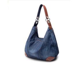 Wholesale Blue Denim Purse Bag - Designer Denim Handbags Large Women Messenger Bags Purses Jean Bags Women Big Hobos Ladies Travel Hand Bags Tote Cross Body Bag