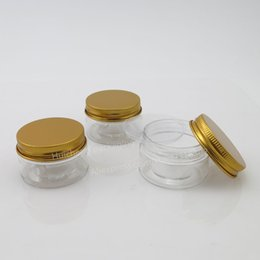 Wholesale Pet Containers - Empty PET Plastic Jars Aluminum Gold Lids Clear Pots Cosmetic 30g 1oz Cosmetic Container 50pcs