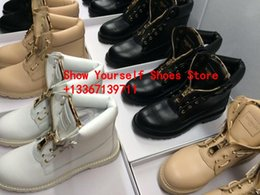 Wholesale Black Combat Boots Women Fashion - Hot Fall Winter Combat Boots Ranger Women's Black Military Boots lace up Ankle Boots Beige Black Leather Taiga Ranger Booties