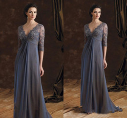 Wholesale Empire Waist Mother Bride - Gray Lace Mother Of The Bride Dresses Sexy Deep V Neck Chiffon Empire Waist Backless Formal Evening Occasion Dresse Long Wedding Party Gowns