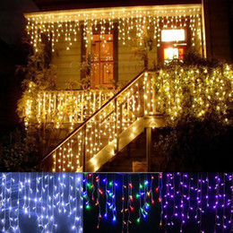 Wholesale Xmas Light Curtains - christmas outdoor decoration 3.5m Droop 0.3-0.5m curtain icicle string led lights 220V 110V New year Garden Xmas Wedding Party