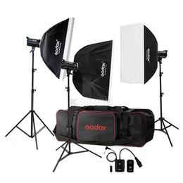 Wholesale Strobe Light Godox - Free DHL 110V 220V Godox DE300 900W  3x 300W 300WS Studio Flash Light Strobe Lighting Kit +70x100cm Softbox + Light Stand+ Carrying Bag