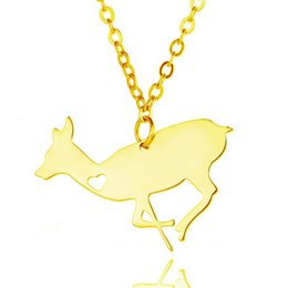 gift xmas Australia - Fashion Stainless Steel Animals Pendant Necklace Gold & Silver Plated Elk Necklaces With Love Heart Fine Jewelry Xmas Gift A073
