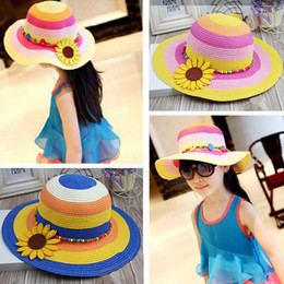 Wholesale Cowboy Hats For Kids Wholesale - straw hat kids straw hatS for ladies girls hats, bucket hat summer beach sun hats with flower , hat with bow